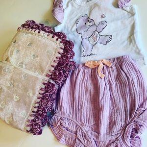 CareBear Lavender Crochet Baby Blanket Gift Set